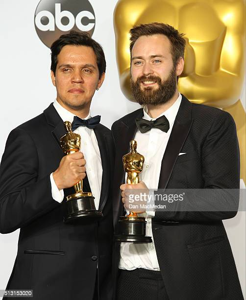 Shan Christopher Ogilvy and Benjamin Cleary, winners for Best Live Action short Film for 'Stutterer,' pose in the press room at the 88th Annual...