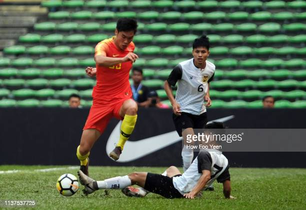 Shan Huanhuan of China in action during the AFC U23 Championship qualifier between China and Laos at Shah Alam Stadium on March 22 2019 in Shah Alam...