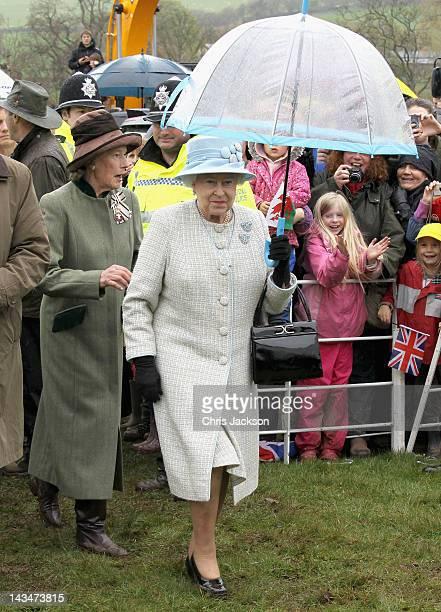 Shan LeggeBourke accompanies Queen Elizabeth II as she visits Glanusk Estate for the 'Diamonds in the Park' event on April 27 2012 in Crickhowell...