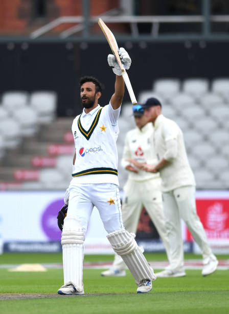 Shan Masood of Pakistan celebrates reaching his century during Day Two of the 1st #RaiseTheBat Test Match between England and Pakistan at Emirates...
