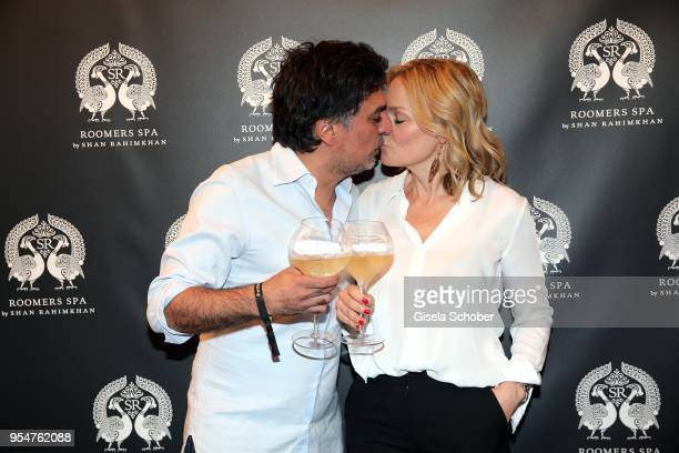 Shan Rahimkhan and his wife Claudia Rahimkhan during the Grand Opening of Roomers Spa by Shan Rahimkhan on May 4, 2018 in Munich, Germany.