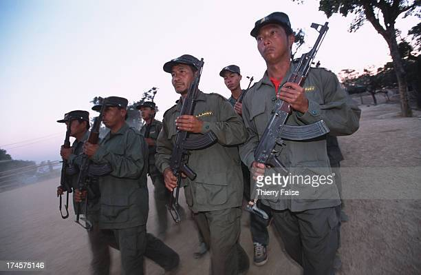 Shan State Army soldiers during a morning training session at their Loi Tai Leng headquarters