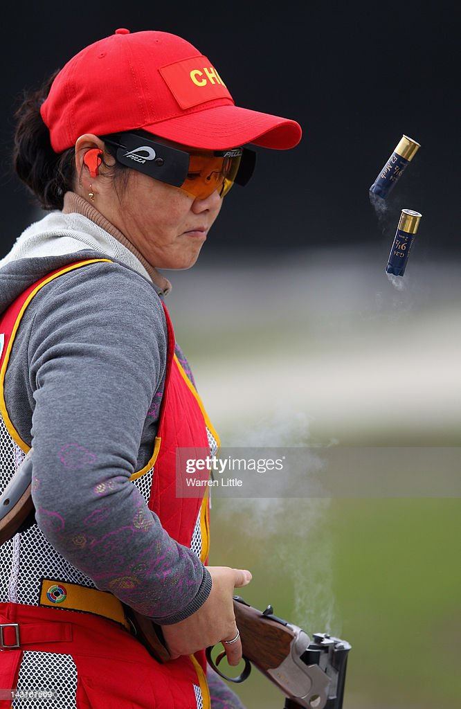Shan Zhang of China in action during the Wmen's Skeet qualification on day two of the ISSF Shooting World Cup - LOCOG Test Event for London 2012 at The Royal Artillery Barracks on April 20, 2012 in London, England.