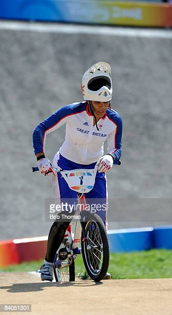 Shanaze Reade of Great Britain after crashing out during the Women's BMX final run held at the Laoshan Bicycle Moto Cross Venue during Day 14 of the...