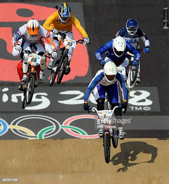 Shanaze Reade of Great Britain competes in the Women's BMX semifinals held at the Laoshan Bicycle Moto Cross Venue during Day 14 of the Beijing 2008...