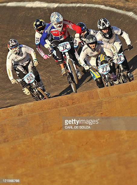Shanaze Reade of Great Britain leads and goes on to win the final of the UCI BMX Supercross World Cup at the Olympic BMX course in Stratford East...
