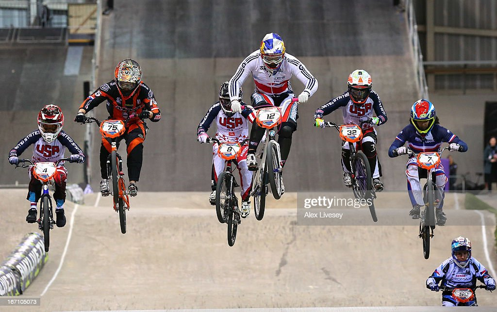 Shanaze Reade of Great Britain leads the race over a jump on her way to victory in the Women's Elite Final during the UCI BMX Supercross World Cup at the National Cycling Centre on April 20, 2013 in Manchester, England.