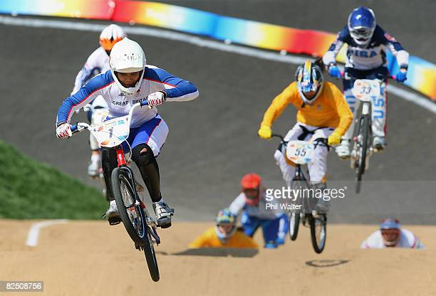 Shanaze Reade of Great Britain races in the Women's BMX semifinal run held at the Laoshan Bicycle Moto Cross Venue during Day 14 of the Beijing 2008...