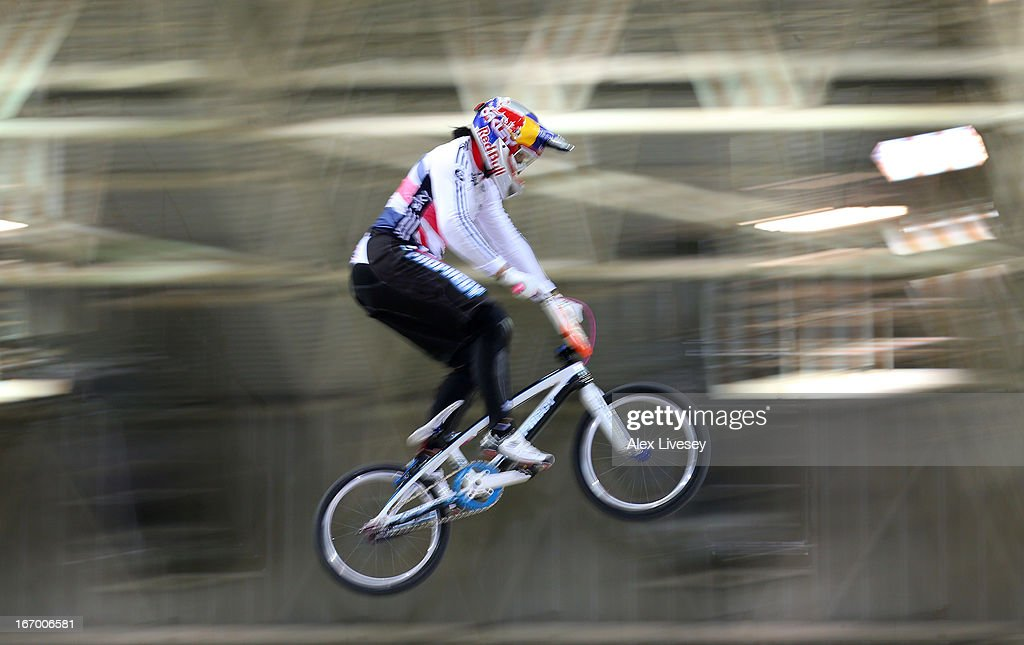Shanaze Reade of Great Britain takes the first jump during her victory in the Women's Elite Time trials Superfinal during the UCI BMX Supercross World Cup at National Cycling Centre on April 19, 2013 in Manchester, England.