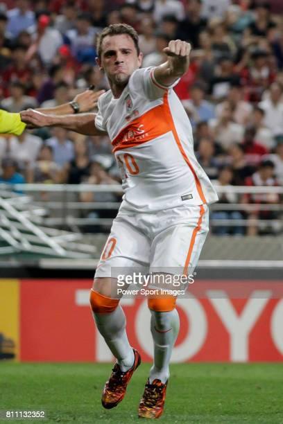Shandong Luneng FC midfielder Walter Montillo celebrates after scoring his goal during the AFC Champions League 2016 Quarter Final 1st leg between FC...