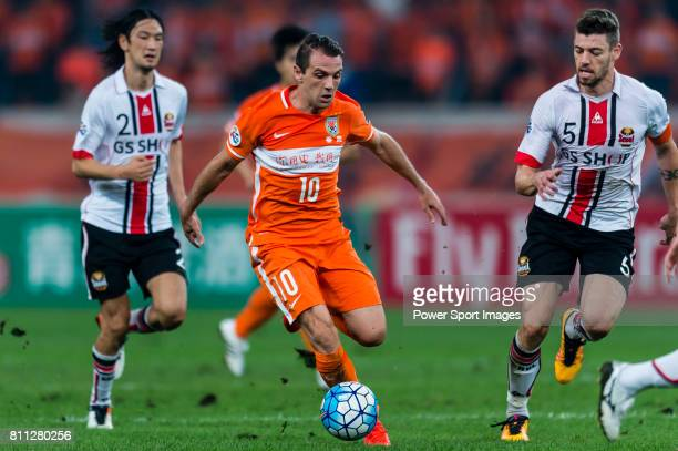 Shandong Luneng FC midfielder Walter Montillo in action during the AFC Champions League 2016 Quarter Final 2nd leg between Shandong Luneng FC vs FC...