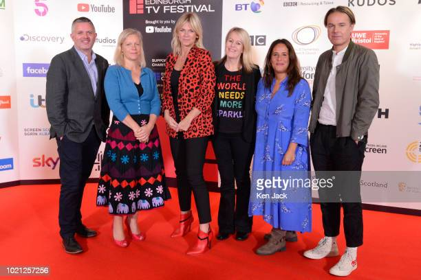Shane Allen Charlotte Moore Zoe Ball Kate Phillips Alison Kirkham and Piers Wenger pose at the Edinburgh International Television Festival on August...