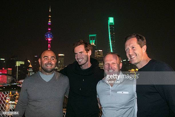 Shane Annun, Physiotherapist, Andy Murray, Mattle Litte, fitness trainer, and coach Jonas Bjorkman pose for a picture on the Helipad of Peninsular...
