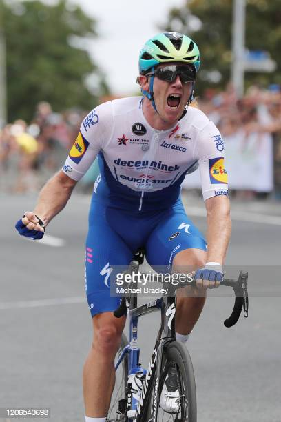 Shane Archbold celebrates winning the Mens Road Race during the New Zealand National Road Cycling Championships on February 16 2020 in Cambridge New...