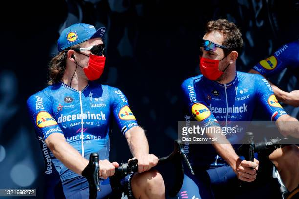 Shane Archbold of New Zealand & Josef Cerny of Czech Republic and Team Deceuninck - Quick-Step at start during the 73rd Critérium du Dauphiné 2021,...
