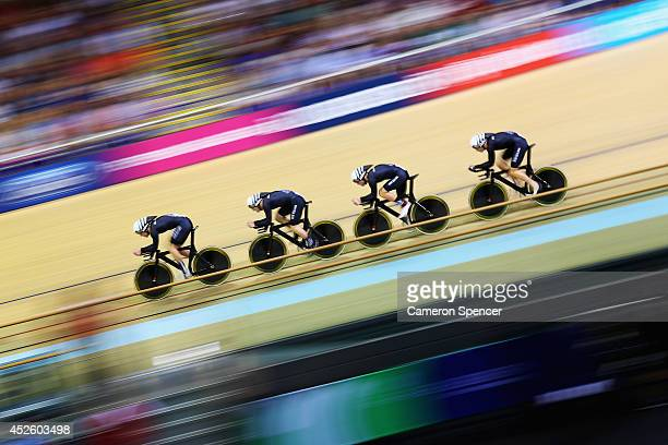 Shane Archibald Pieter Bulling Dylan Kennett and Marc Ryan of New Zealand compete in the Men's 4000m Team Pursuit Qualifying at Sir Chris Hoy...