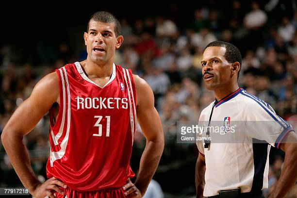 Shane Battier of the Houston Rockets discusses a call with referee Eric Lewis during the game against the Dallas Mavericks on November 5 2007 at...