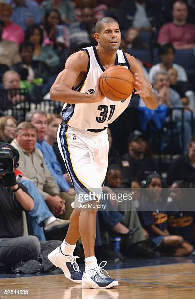 Shane Battier of the Memphis Grizzlies looks to pass during the game with the Minnesota Timberwolvesat FedexForum on March 18 2005 in Memphis...