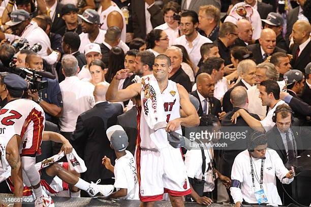 new arrival ec83e 60a49 Shane Battier of the Miami Heat celebrates after his team won the NBA  Championship by defeating