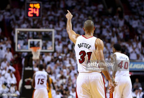 Shane Battier of the Miami Heat celebrates against the Indiana Pacers during Game Six of the Eastern Conference Finals of the 2014 NBA Playoffs at...