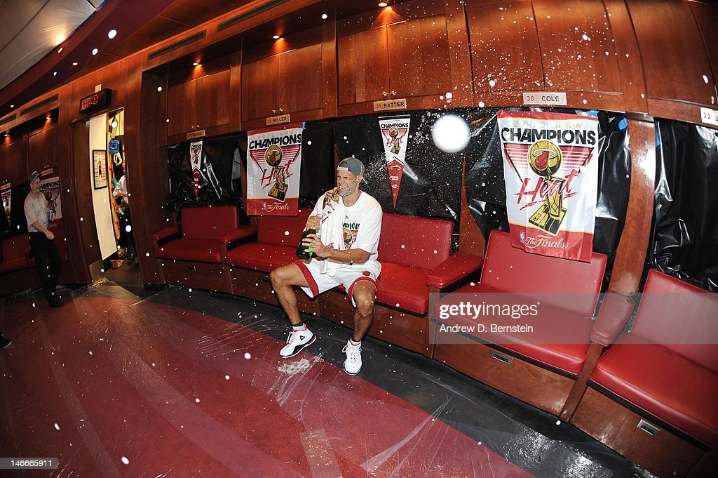 Shane Battier #31 of the Miami Heat celerates in a locker room after winning Game Five of the 2012 NBA Finals between the Miami Heat and the Oklahoma City Thunder at American Airlines Arena on June 21, 2012 in Miami, Florida.