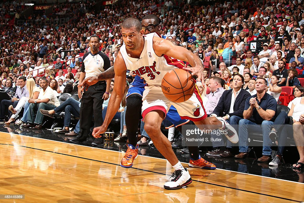 Shane Battier #31 of the Miami Heat drives to the basket during the game against the New York Knicks on April 6, 2014 at American Airlines Arena in Miami, Florida.