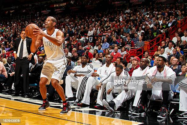 Shane Battier of the Miami Heat makes a threepointer against the Memphis Grizzlies on March 1 2013 at American Airlines Arena in Miami Florida NOTE...