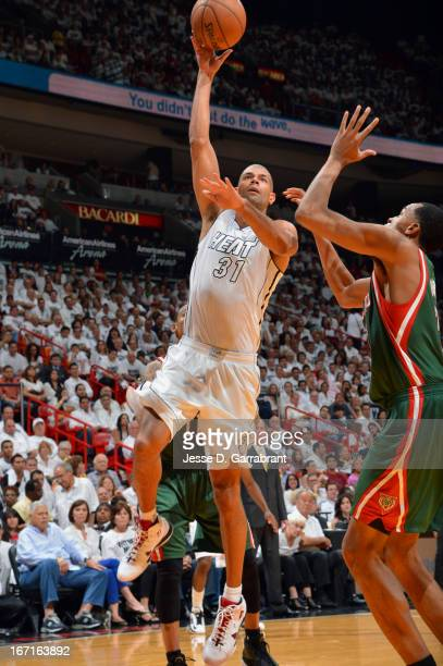 Shane Battier of the Miami Heat puts up a shot against the Milwaukee Bucks in Game One of the Eastern Conference Quarterfinals during the 2013 NBA...