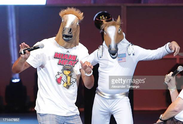 Shane Battier of the Miami Heat wears a horse mask as he attends the NBA Championship victory rally at the AmericanAirlines Arena on June 24 2013 in...