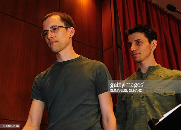 Shane Bauer and Josh Fattal two US hikers held by Iran for more than two years on spying charges leave a press conference after arriving back in the...