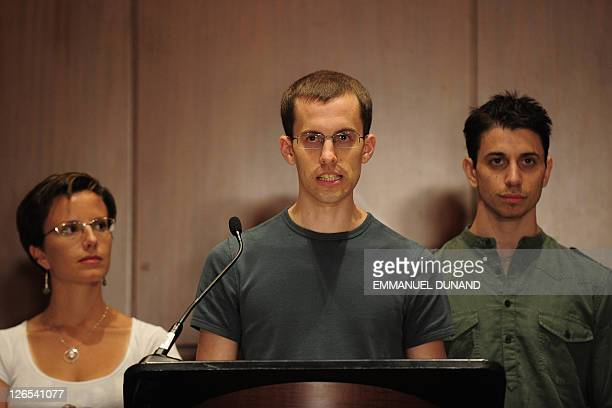 Shane Bauer and Josh Fattal two US hikers held by Iran for more than two years on spying charges and fellow former detainee Sarah Shourd give a press...