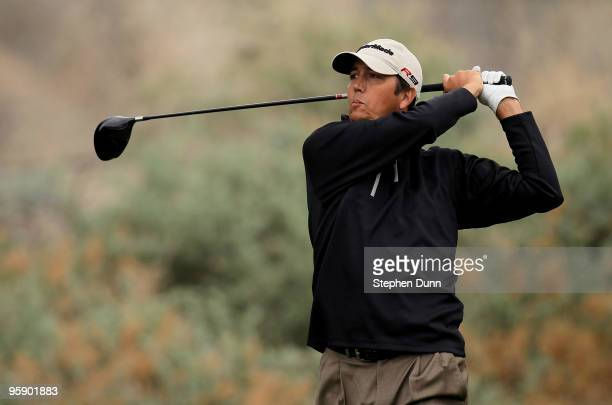 Shane Bertsch hits his tee shot on the fifth hole on the Nicklaus Private Course at PGA West during the first round of the Bob Hope Classic on...