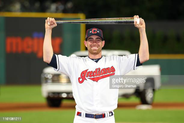 Shane Bieber of the Cleveland Indians and the American League poses with the Major League Baseball All-Star Game Most Valuable Player Award after the...