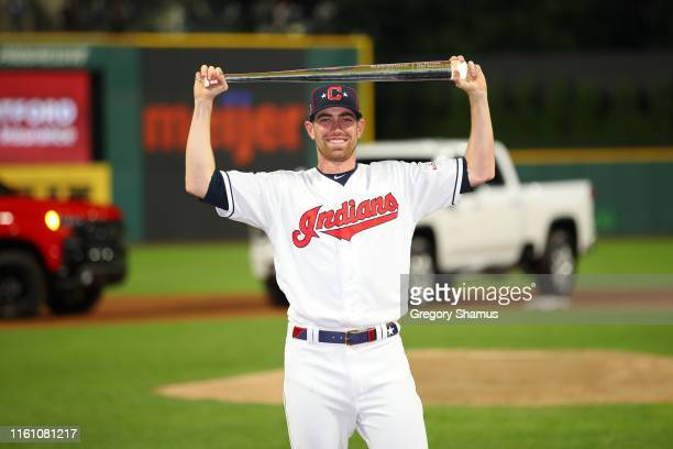 Shane Bieber of the Cleveland Indians and the American League poses with the Major League Baseball AllStar Game Most Valuable Player Award after the...