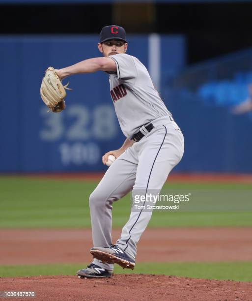 Shane Bieber of the Cleveland Indians delivers a pitch in the first inning during MLB game action against the Toronto Blue Jays at Rogers Centre on...
