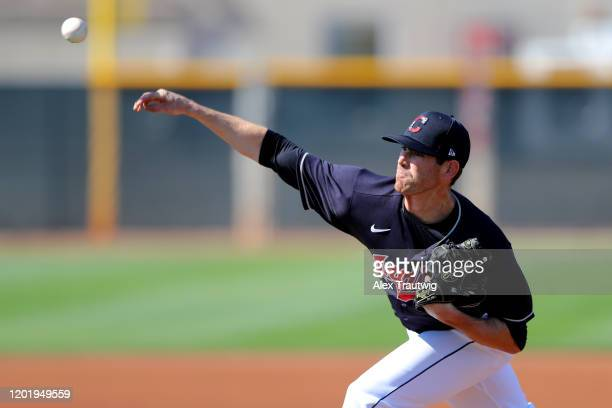 Shane Bieber of the Cleveland Indians throws live batting practice during a workout on Wednesday, February 19, 2020 at Goodyear Ballpark in Goodyear,...