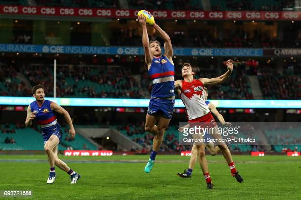Shane Biggs of the Bulldogs marks during the round 12 AFL match between the Sydney Swans and the Western Bulldogs at Sydney Cricket Ground on June 8...