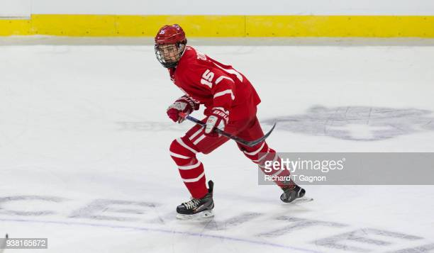 Shane Bowers of the Boston University Terriers skates against the Cornell Big Red during the NCAA Division I Men's Ice Hockey Northeast Regional...