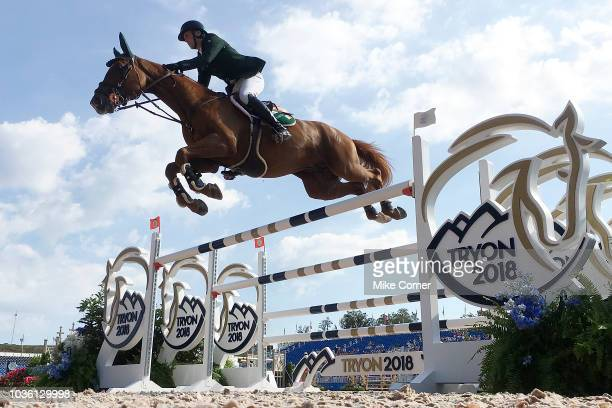 Shane Breen of Ireland jumps a gate on Ipswich van de Wolfsakker during the FEI World Equestrian Games on September 19 2018 at the Tryon...