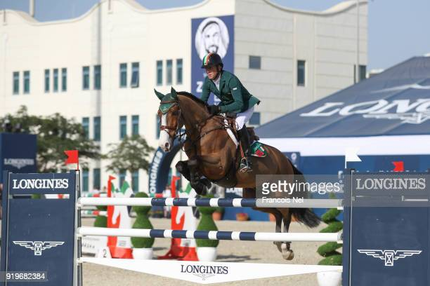 Shane Breen of Ireland rides Laith during The President of the UAE Show Jumping Cup at Al Forsan on February 17 2018 in Abu Dhabi United Arab Emirates