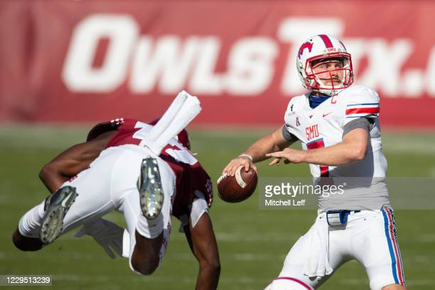 Shane Buechele of the Southern Methodist Mustangs looks to pass the ball against the Temple Owls in the first quarter at Lincoln Financial Field on...