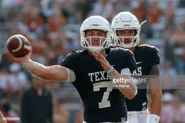 Shane Buechele of the Texas Longhorns throws a pass before the OrangeWhite Spring Game at Darrell K RoyalTexas Memorial Stadium on April 21 2018 in...