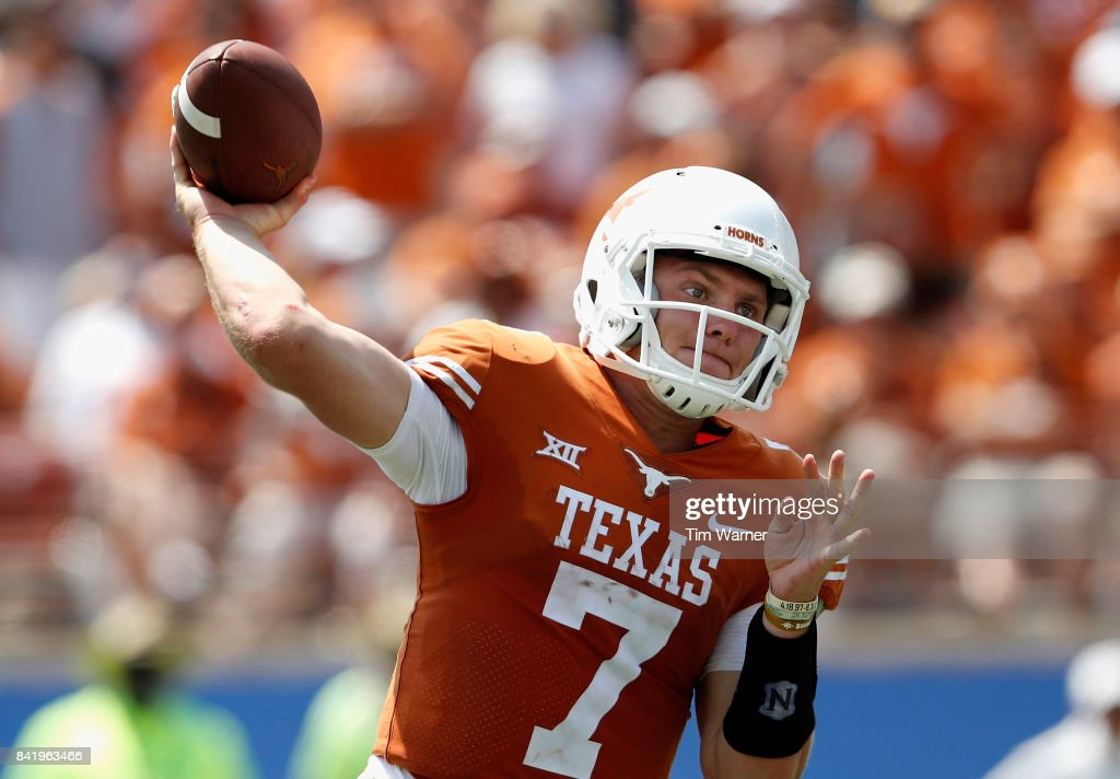 Shane Buechele #7 of the Texas Longhorns throws a pass in the fourth quarter against the Maryland Terrapins at Darrell K Royal-Texas Memorial Stadium on September 2, 2017 in Austin, Texas.