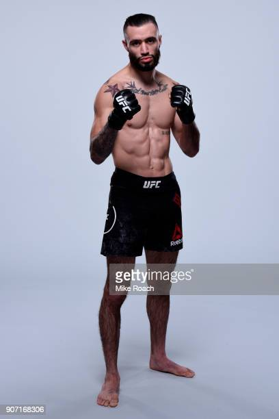 Shane Burgos poses for a portrait during a UFC photo session on January 17 2018 in Boston Massachusetts