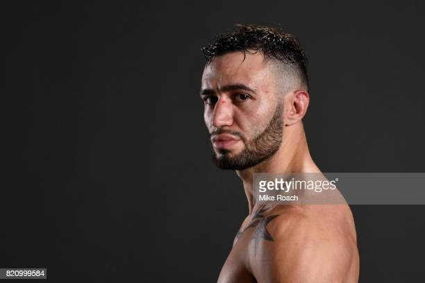 Shane Burgos poses for a post fight portrait backstage during the UFC Fight Night event inside the Nassau Veterans Memorial Coliseum on July 22 2017...