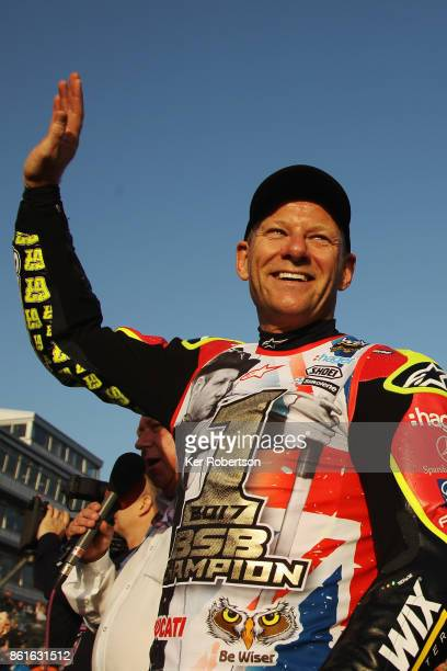 Shane Byrne of Be Wiser Ducati Racing Team celebrates winning the British Superbike Championship for the sixth time at the finale at Brands Hatch on...