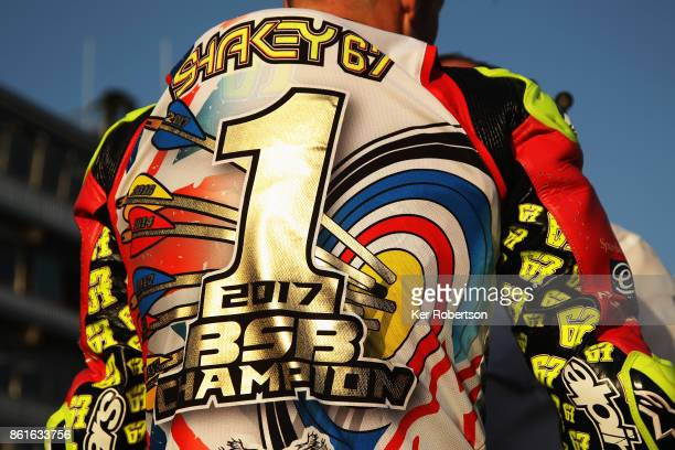Shane Byrne of Be Wiser Ducati Racing Team is interviewed while wearing special bike leathers after winning the British Superbike Championship for...