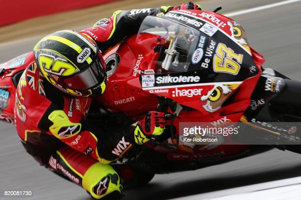 Shane Byrne of Be Wiser Ducati Racing Team rides during practice for the British Superbike Championship at Brands Hatch on July 21 2017 in Longfield...