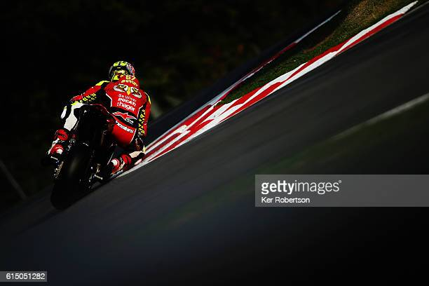 Shane Byrne of Be Wiser Ducati team rides during practice for Round 12 of the British Superbike Championship at Brands Hatch on October 15 2016 in...