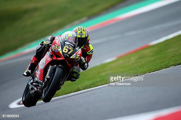 Shane Byrne of Be Wiser Ducati team rides during qualifying for Round 12 of the British Superbike Championship at Brands Hatch on October 15 2016 in...